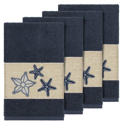 Tiarra 100% Turkish Cotton Embellished 4 Piece Hand Towel Set Color: Midnight Blue