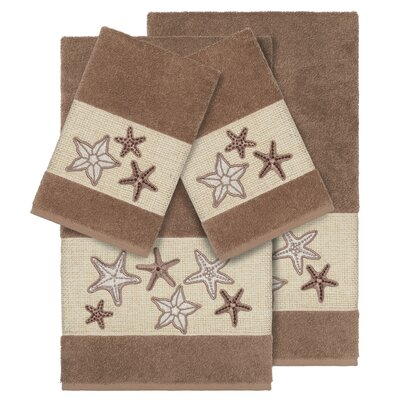 Tiarra 100% Turkish Cotton Embellished 4 Piece Towel Set Color: Latte