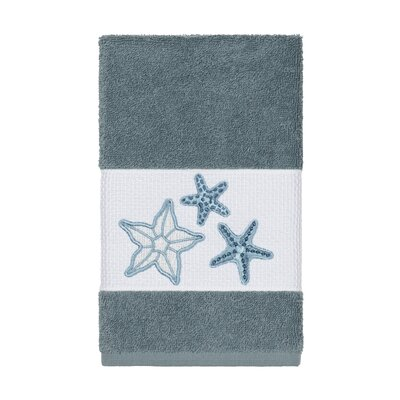 Tiarra 100% Turkish Cotton Embellished Hand Towel Color: Teal