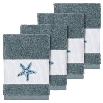 Tiarra 100% Turkish Cotton Embellished 4 Piece Washcloth Set Color: Teal