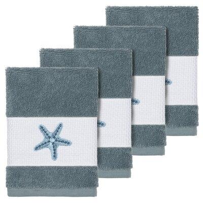 Tiarra 100% Turkish Cotton Embellished 4 Piece Washcloth Set Color: Teal