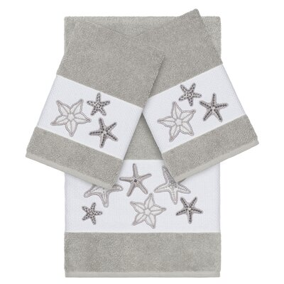 Tiarra 100% Turkish Cotton Embellished 3 Piece Towel Set Color: Light Gray
