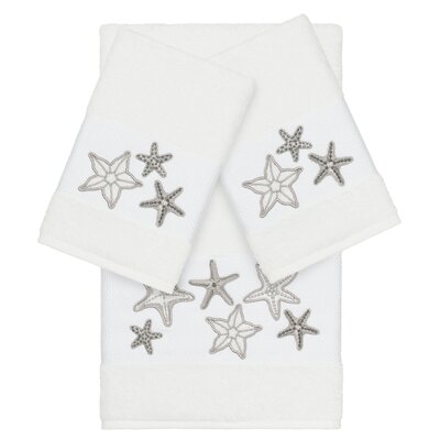 Tiarra 100% Turkish Cotton Embellished 3 Piece Towel Set Color: White