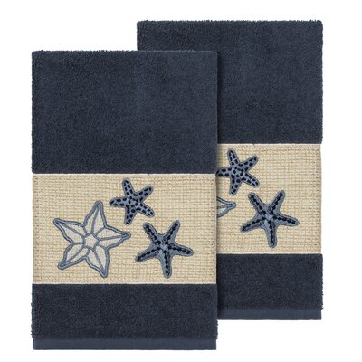 Tiarra 100% Turkish Cotton Embellished 2 Piece Hand Towel Set Color: Midnight Blue