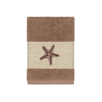 Tiarra 100% Turkish Cotton Embellished Washcloth Color: Latte