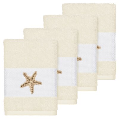 Tiarra 100% Turkish Cotton Embellished 4 Piece Washcloth Set Color: Cream