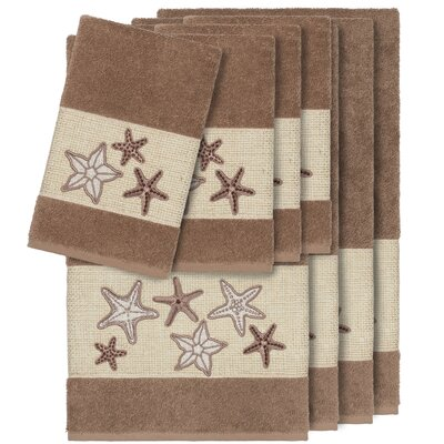 Tiarra 100% Turkish Cotton Embellished 8 Piece Towel Set Color: Latte