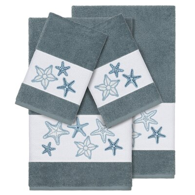 Tiarra 100% Turkish Cotton Embellished 4 Piece Towel Set Color: Teal