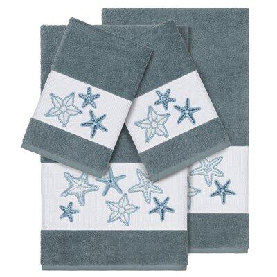 Tiarra 100% Turkish Cotton Embellished 4 Piece Towel Set Color: Teal