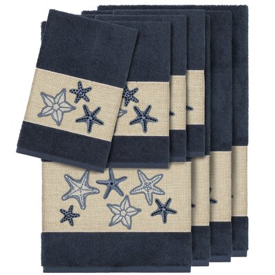 Tiarra 100% Turkish Cotton Embellished 8 Piece Towel Set Color: Midnight Blue