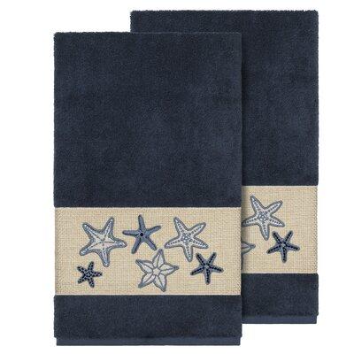 Tiarra 100% Turkish Cotton Embellished 2 Piece Bath Towel Set Color: Midnight Blue