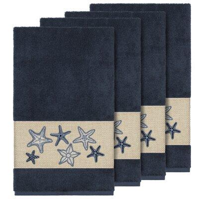 Tiarra 100% Turkish Cotton Embellished 4 Piece Bath Towel Set Color: Midnight Blue
