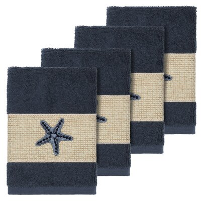Tiarra 100% Turkish Cotton Embellished 4 Piece Washcloth Set Color: Midnight Blue