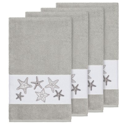 Tiarra 100% Turkish Cotton Embellished 4 Piece Bath Towel Set Color: Light Gray
