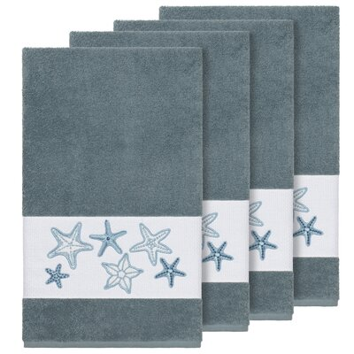 Tiarra 100% Turkish Cotton Embellished 4 Piece Bath Towel Set Color: Teal