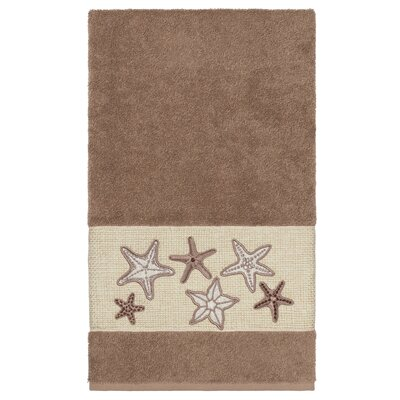 Tiarra 100% Turkish Cotton Embellished Bath Towel Color: Latte
