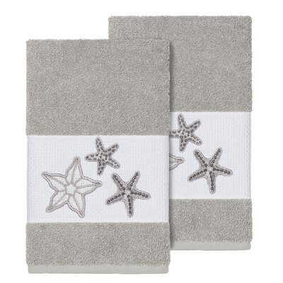 Tiarra 100% Turkish Cotton Embellished 2 Piece Hand Towel Set Color: Light Gray