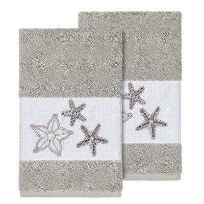 Tiarra 100% Turkish Cotton Embellished 2 Piece Hand Towel Set Color: Light Gray