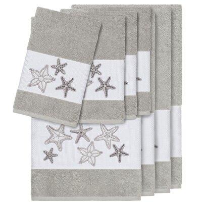 Tiarra 100% Turkish Cotton Embellished 8 Piece Towel Set Color: Light Gray
