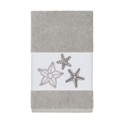 Tiarra 100% Turkish Cotton Embellished Hand Towel Color: Light Gray