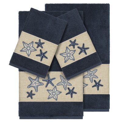 Tiarra 100% Turkish Cotton Embellished 4 Piece Towel Set Color: Midnight Blue