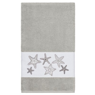 Tiarra 100% Turkish Cotton Embellished Bath Towel Color: Light Gray