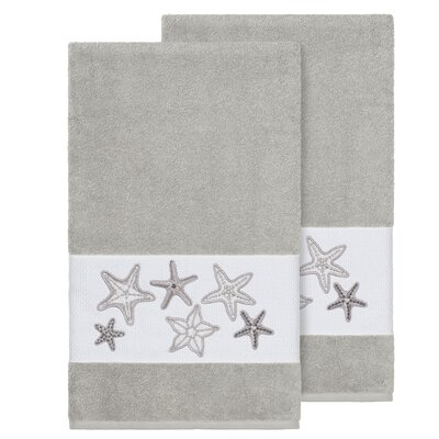 Tiarra 100% Turkish Cotton Embellished 2 Piece Bath Towel Set Color: Light Gray