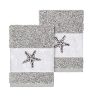 Tiarra 100% Turkish Cotton Embellished 2 Piece Washcloth Set Color: Light Gray