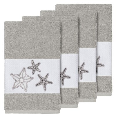 Tiarra 100% Turkish Cotton Embellished 4 Piece Hand Towel Set Color: Light Gray