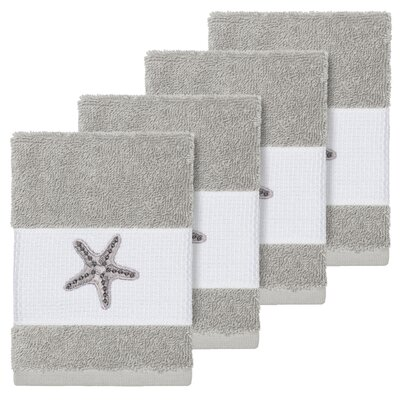 Tiarra 100% Turkish Cotton Embellished 4 Piece Washcloth Set Color: Light Gray