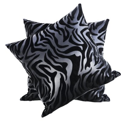 Medders Flocked Faux Leather Throw Pillow Color: Black