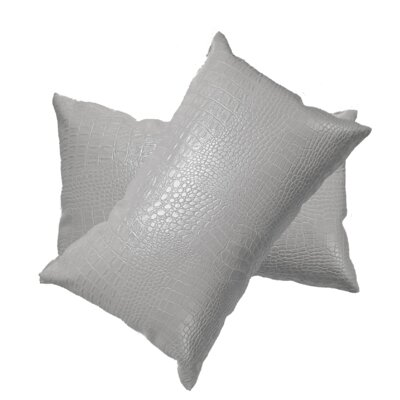 Giddens Croc Faux Leather Lumbar Pillow Color: White