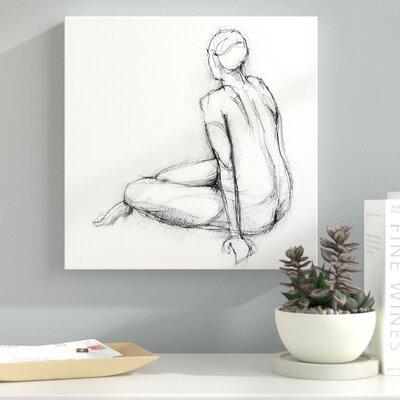 'Seated Nude Sketch' Drawing Print on Wrapped Canvas 6F81F3A3BFD249239EA39939E497E7DA