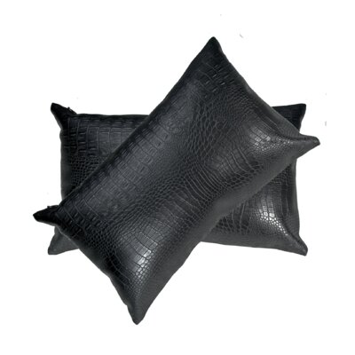 Giddens Croc Faux Leather Lumbar Pillow Color: Black