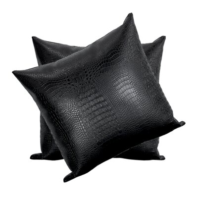Giddens Croc Faux Leather Throw Pillow Color: Black