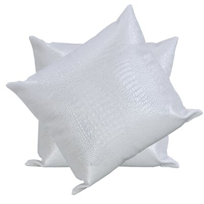 Giddens Croc Faux Leather Throw Pillow Color: White