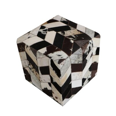 Golla Geometric Hide Pouf Upholstery: Brown/White