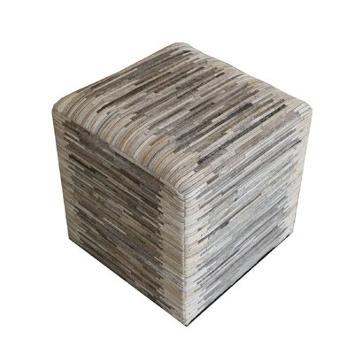 Gomer Striped Hide Pouf