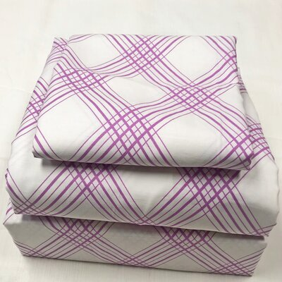 Houp Plaid 200 Thread Count 100% Cotton Sheet Set Size: Queen