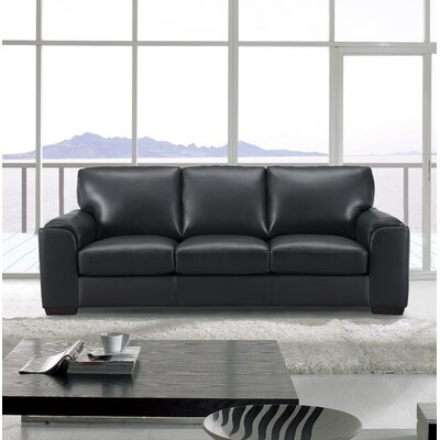 Van Nest Craft Leather Sofa Upholstery: Black