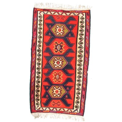 Antique Persian Shiraz Kilim Hand-Woven Wool Red/Navy Area Rug