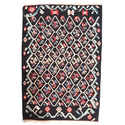 Turkish Kilim Hand-Woven Wool Black/White Area Rug