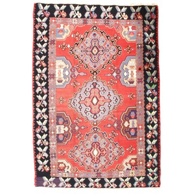 Turkish Kilim Hand-Woven Wool Red Area Rug