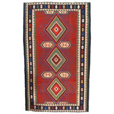 Antique Russian Kazak Kilim Lambs Hand-Woven Wool Red Area Rug
