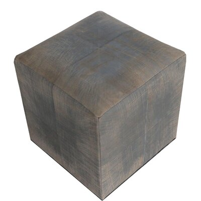 Penhook Distressed Leather Pouf Upholstery: Brown