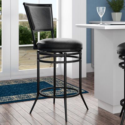 Massena 26 Swivel Counter Bar Stool Upholstery: Black
