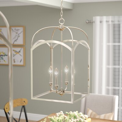 Mount Airy 4-Light Foyer Pendant Finish: Polished Nickel, Size: 28.25 H x 15 W