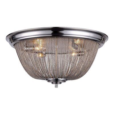 Lininger 4-Light Flush Mount Finish: Pewter