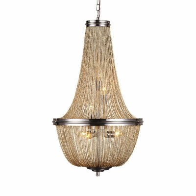 Lininger 6-Light Empire Chandelier Finish: Pewter