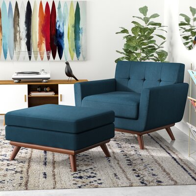 Johnston Armchair and Ottoman Upholstery: Azure